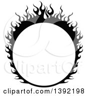 Black And White Round Flaming Label Frame Design