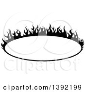 Black And White Oval Flaming Label Frame Design