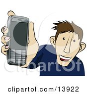 Young Man Showing Off His New Cellphone Clipart Illustration by AtStockIllustration