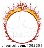 Clipart Of A Round Flaming Label Frame Design Royalty Free Vector Illustration