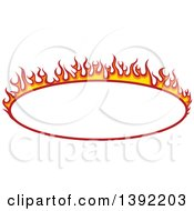 Clipart Of An Oval Flaming Label Frame Design Royalty Free Vector Illustration