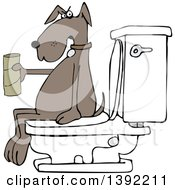 Clipart Of A Cartoon Brown Dog Out Of Tp Sitting On A Toilet Royalty Free Vector Illustration by djart