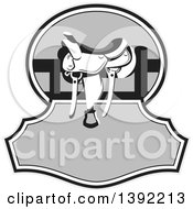 Clipart Of A Retro Grayscale Western Saddle On A Fence Over Text Space Royalty Free Vector Illustration by patrimonio