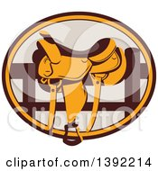 Clipart Of A Retro Western Saddle On A Fence In A Brown And Orange Oval Royalty Free Vector Illustration