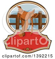 Clipart Of A Retro Western Saddle On A Fence Over Text Space Royalty Free Vector Illustration by patrimonio