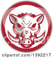 Clipart Of A Retro Wild Boar Head In A Gray Red And White Circle Royalty Free Vector Illustration by patrimonio