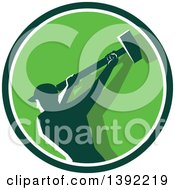Retro Silhouetted Male Demolition Worker Swinging A Sledgehammer In A Green And White Circle