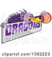 Clipart Of A Retro Purple Fire Breathing Dragon Holding A Basketball Over Text Royalty Free Vector Illustration by patrimonio