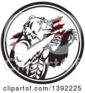Clipart Of A Retro California Grizzly Bear Attacking In A Black And White Circle Royalty Free Vector Illustration