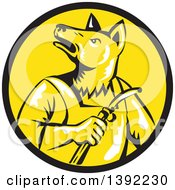 Retro Woodcut Dingo Dog Welder In A Black And Yellow Circle