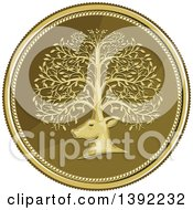Clipart Of A Retro Coin Of A Deer Head With His Antlers Forming A Tree Royalty Free Vector Illustration