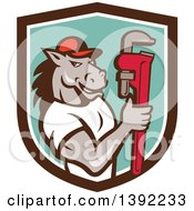 Clipart Of A Cartoon Muscular Horse Man Plumber Holding A Monkey Wrench In A Brown White And Turquoise Shield Royalty Free Vector Illustration