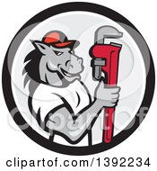 Clipart Of A Cartoon Muscular Horse Man Plumber Holding A Monkey Wrench In A Black White And Gray Circle Royalty Free Vector Illustration