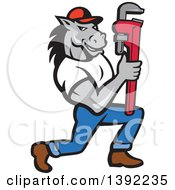 Clipart Of A Cartoon Muscular Horse Man Plumber Holding A Monkey Wrench Royalty Free Vector Illustration