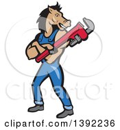 Clipart Of A Cartoon Horse Man Plumber With Folded Arms Holding A Monkey Wrench Royalty Free Vector Illustration