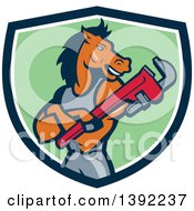 Clipart Of A Cartoon Muscular Horse Man Plumber With Folded Arms Holding A Monkey Wrench In A Blue White And Green Shield Royalty Free Vector Illustration