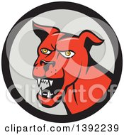 Clipart Of A Cartoon Angry Red Guard Dog In A Black And Gray Circle Royalty Free Vector Illustration by patrimonio