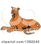 Clipart Of A Cartoon Angry Mastiff Dog Barking Royalty Free Vector Illustration by patrimonio