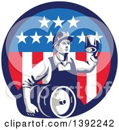 Clipart Of A Retro Male Construction Worker Toasting And Carrying A Beer Keg In An American Circle Royalty Free Vector Illustration
