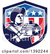 Clipart Of A Retro Male Patriot Soldier Holding A Home In An American Shield Royalty Free Vector Illustration