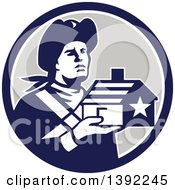 Clipart Of A Retro Male American Patriot Soldier Holding A Home In A Blue White And Gray Circle Royalty Free Vector Illustration