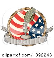 Clipart Of A Retro Sketched World War Two Grenade Mounted On A Microphone Stand Over A Blank Banner American Flag And Rope Royalty Free Vector Illustration