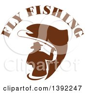 Clipart Of A Retro Brown Silhouetted Fly Fisherman And Trout Fish Under Text Royalty Free Vector Illustration