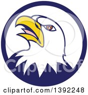 Clipart Of A Cartoon Angry Bald Eagle Head In A Blue And White Circle Royalty Free Vector Illustration