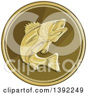 Clipart Of A Retro Coin Of A Barramundi Asian Sea Bass Fish Royalty Free Vector Illustration