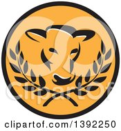 Clipart Of A Retro Cow Head And Laurel Branches In A Black And Orange Circle Royalty Free Vector Illustration