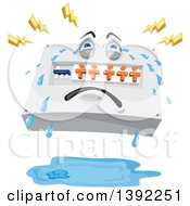 Clipart Of A Cartoon Switchboard Crying With Lightning Bolts Over A Pool Of Water Royalty Free Vector Illustration