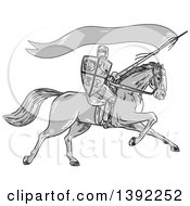 Clipart Of A Retro Sketched Grayscale Horseback Knight Holding A Lance Shield And Flag Royalty Free Vector Illustration