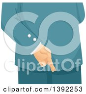 Clipart Of A Business Man Crossing His Fingers Behind His Back Royalty Free Vector Illustration