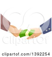 Clipart Of Rich And Poor Hands Exchanging Cash Money Royalty Free Vector Illustration