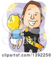 Clipart Of A Happy White Male Politician Holding A Baby Royalty Free Vector Illustration by BNP Design Studio