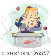 Clipart Of A Cartoon Male Politician Getting Hit With Eggs And Tomatoes During A Speech Royalty Free Vector Illustration