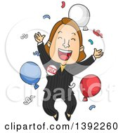 Clipart Of A Cartoon Caucasian Female Politician Jumping After A Win Royalty Free Vector Illustration by BNP Design Studio