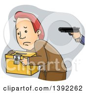 Clipart Of A Cartoon Caucasian Man Being Held At Gunpoint And Carrying A Ballot Box Royalty Free Vector Illustration