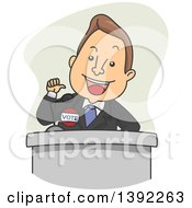 Clipart Of A Cartoon White Male Politician Giving A Speech Royalty Free Vector Illustration by BNP Design Studio