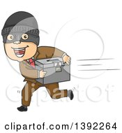 Clipart Of A Cartoon White Man Running Away With A Ballot Box Royalty Free Vector Illustration