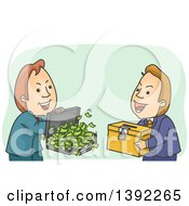 Clipart Of A Cartoon Shady White Male Politician Buying A Ballot Box Royalty Free Vector Illustration