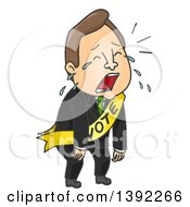 Clipart Of A Cartoon Brunette White Male Politician Crying After A Loss Royalty Free Vector Illustration