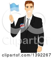 Clipart Of A Brunette White Male Politician Holding A Flag Royalty Free Vector Illustration