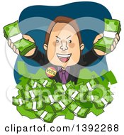 Clipart Of A Cartoon White Male Politician Drowning In Money Royalty Free Vector Illustration by BNP Design Studio
