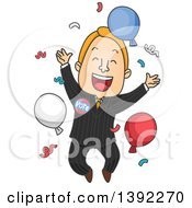 Clipart Of A Cartoon Happy White Male Politician Celebrating A Win Royalty Free Vector Illustration