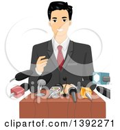 Clipart Of A Male Politician Giving A Speech To A Crowd Of Journalists Royalty Free Vector Illustration