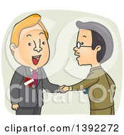 Clipart Of A Cartoon Male Politician Shaking Hands With A Competitor Royalty Free Vector Illustration by BNP Design Studio