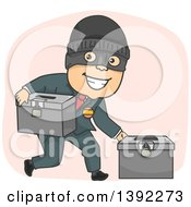 Clipart Of A Cartoon Masked Criminal Politician Stealing Ballot Boxes Royalty Free Vector Illustration by BNP Design Studio