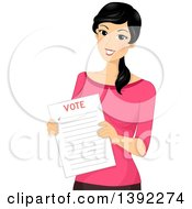 Clipart Of A Happy Woman Holding A Voter Ballot Royalty Free Vector Illustration by BNP Design Studio