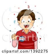 Clipart Of A Brunette White Boy Wearing A Vote Badge Royalty Free Vector Illustration by BNP Design Studio